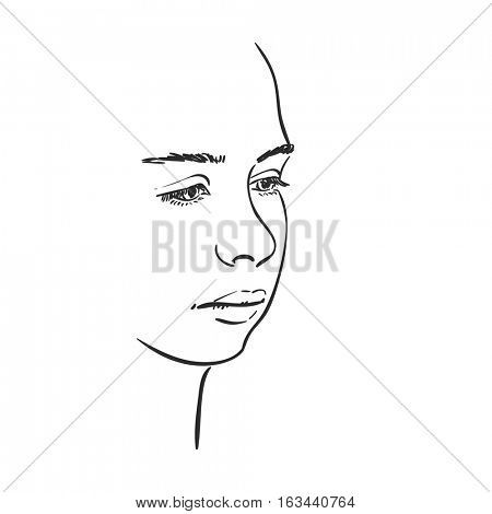 Face of young girl with downcast eyes, Vector sketch Hand drawn illustration