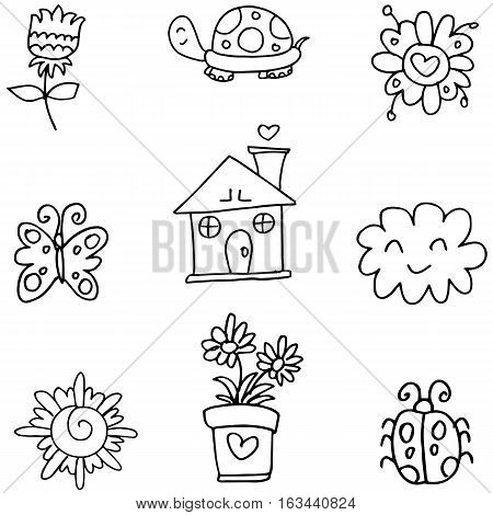 Vector art spring of doodles collection stock