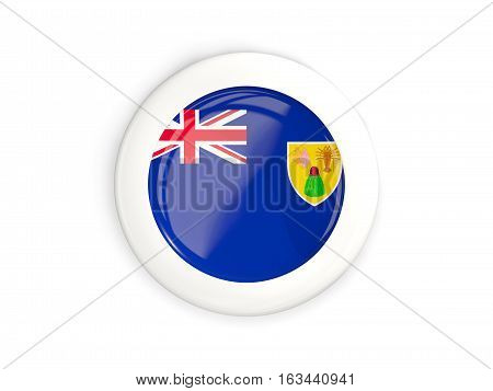 Flag Of Turks And Caicos Islands, Glossy Round Button