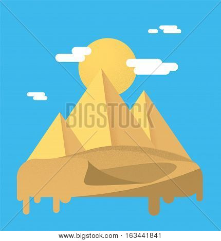 Pyramids in the desert with sun. Flat vector illustration