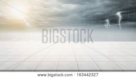 Business concept - Empty concrete floor top with panoramic sky view under sunrise and storm thunder grey sky for display or montage product