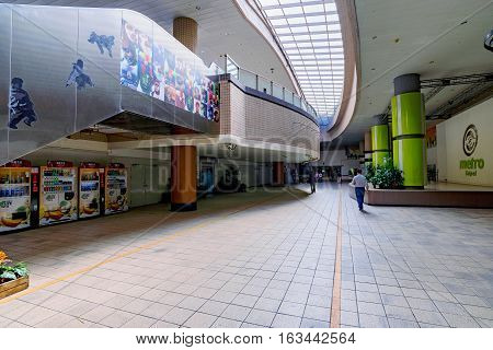 TAIPEI TAIWAN - NOVEMBER 11: This is the entrance to Taipei city mall which is an underground mall connected to Taipei main station and Zhongshan on November 11 2016 in Taipei