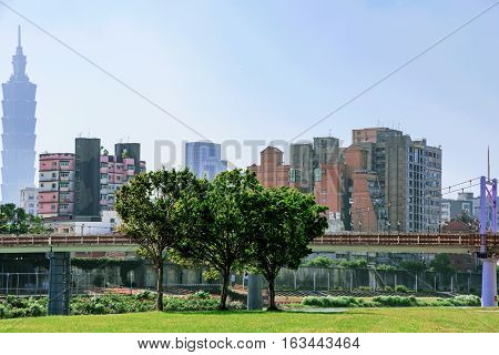 Cityscape of Taipei architecture and riverside park