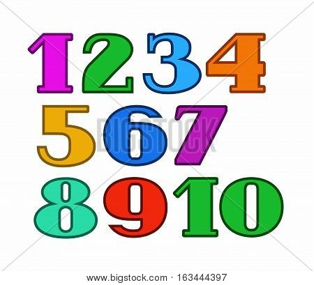 Numbers color, colored outline, white background, vector. Colored figures with serifs and thin colored outline on a white background.