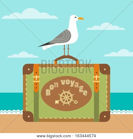 Travel poster concept. Have nice trip - Bon Voyage in French. Freehand fancy cartoon style. Cute seagull, retro vintage luggage emblem. Sea tour sign symbol. Banner background vector element