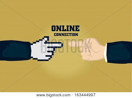 Human finger touching pixelated digital finger. Creative vector business illustration on digital connection for businesses concept isolated on plain background.