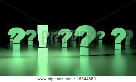 Light green glowing exclamation mark standing out from the crowd of reflecting question marks fading into the darkness solution concept 3D illustration