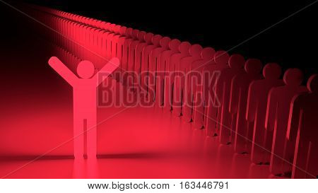 Red happy glowing man standing next to a row of ordinary people individuality concept 3D illustration