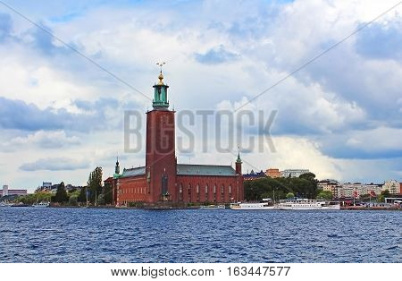 Scenic summer view of the City Hall castle in the Old Town (Gamla Stan) in Stockholm, Sweden