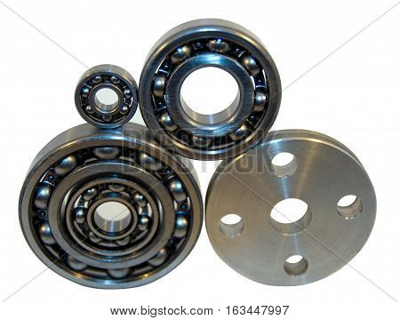 Flange and four ball bearings. A flange is an external or internal ridge, or rim (lip), for strength, as the flange of an iron beam such as an I-beam or a T-beam; or for attachment to another object, as the flange on the end of a pipe, steam cylinder, etc