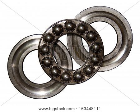 Ball bearing on a white background. A ball bearing is a type of rolling-element bearing that uses balls to maintain the separation between the bearing races.