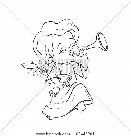 Cute smiling angel kin making music plaing trumpet. Vector illustration. Good for seasonal greeting, redwork, coloring page. Ink line work, contour