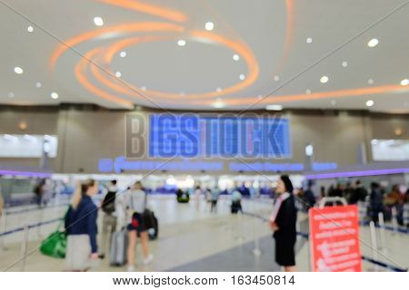 Blurred Background : Traveller walk-in to Terminal Departure at airport