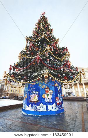 Christmas tree at The Bolshoi opera and ballet theatre on Theatre square Moscow Russia