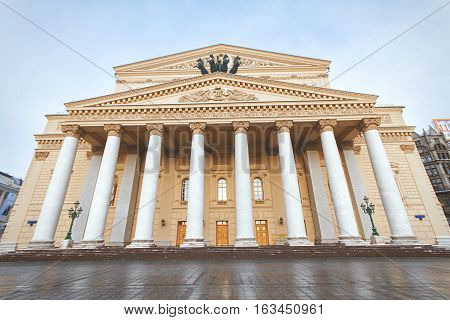 View of the State Academic Bolshoi Theatre Opera and Ballet Moscow Russia in winter time