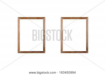 Blank wooden frame picture on white background.