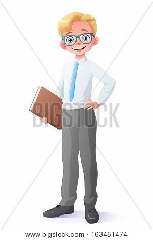 Cute and clever smiling young school student boy with eyeglasses holding book. Cartoon style vector illustration isolated on white background.