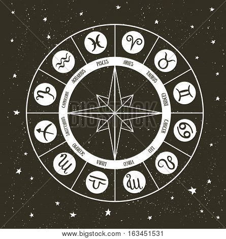Zodiac circle with horoscope signs. Hand drawn Vector illustration.