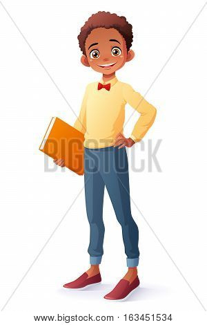 Cute and clever smiling young African ethnic school student boy holding book. Cartoon style vector illustration isolated on white background.