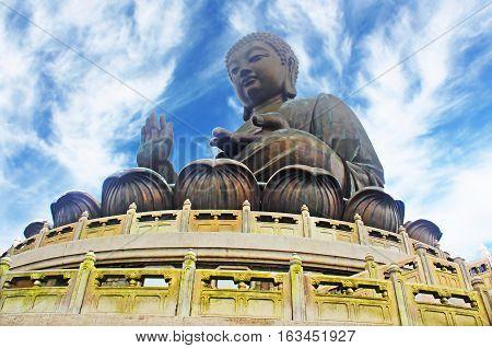 Famous Giant Buddha statue in Hong Kong