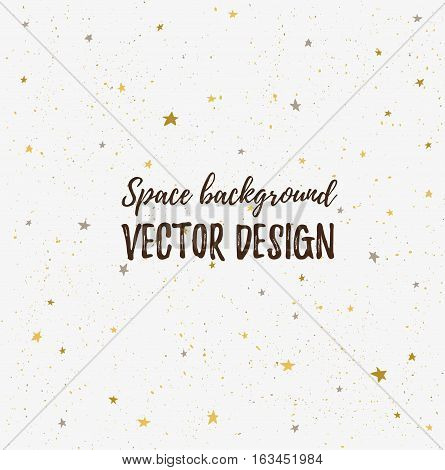 Sparkling nights sky with stars and light space. Vector hand drawn stylish background. Hipster template for poster  banner and wedding card design.