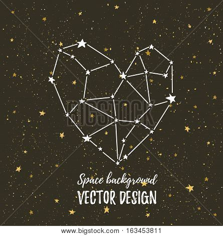 Starlit heart on the dark night sky with stars. Vector background for valentine's card love poster and wedding greeting invitation cards. Constellation in the form of heart.
