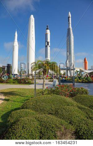 Cape Canaveral, Florida, USA - DEC, 2016: Apollo rockets in the rocket garden at Kennedy Space Center