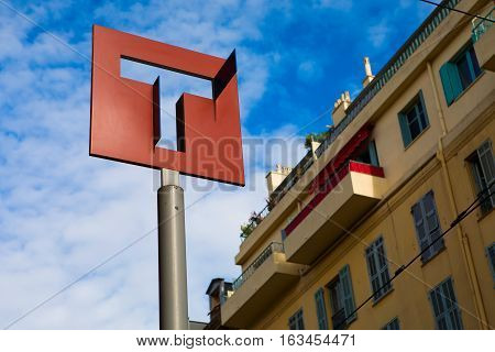 Nice France - November 6 2016: A sign of a stop of the high-speed tram on the city street