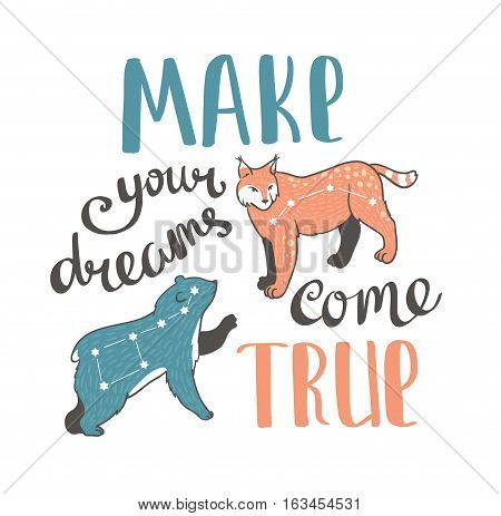 Vector boho print with animals stars and hand writing phrase