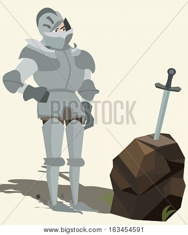 knight in armour looking at sword in stone funny vector cartoon illustration