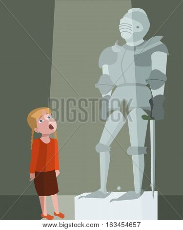 little girl at tour of the history museum - funny vector cartoon illustration