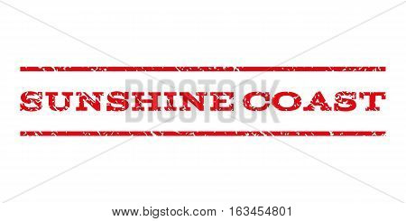 Sunshine Coast watermark stamp. Text caption between horizontal parallel lines with grunge design style. Rubber seal stamp with dirty texture.