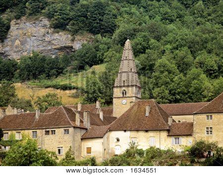 abbey baume les messieurs village jura franche compte france europe poster