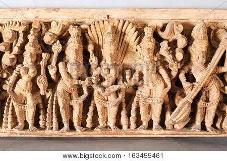 Antique indian wooden frieze isolated on white