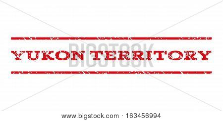 Yukon Territory watermark stamp. Text tag between horizontal parallel lines with grunge design style. Rubber seal stamp with unclean texture.