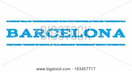 Barcelona watermark stamp. Text caption between horizontal parallel lines with grunge design style. Rubber seal stamp with dirty texture. Vector blue color ink imprint on a white background.