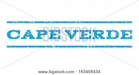 Cape Verde watermark stamp. Text tag between horizontal parallel lines with grunge design style. Rubber seal stamp with dust texture. Vector blue color ink imprint on a white background.