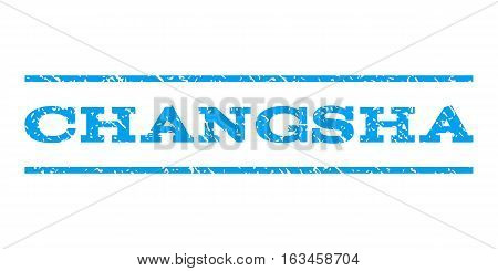 Changsha watermark stamp. Text caption between horizontal parallel lines with grunge design style. Rubber seal stamp with unclean texture. Vector blue color ink imprint on a white background.