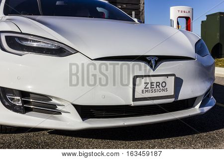 Lafayette - Circa December 2016: Tesla Supercharger Station. The Supercharger Offers Recharging Of M