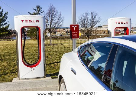 Lafayette - Circa December 2016: Tesla Supercharger Station. The Supercharger offers recharging of Model S and Model X electric vehicles IX