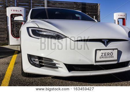 Lafayette - Circa December 2016: Tesla Supercharger Station. The Supercharger offers recharging of Model S and Model X electric vehicles XI