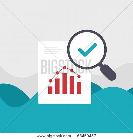 Analitics Document Bussines Graph Vector Illustration Magnifier