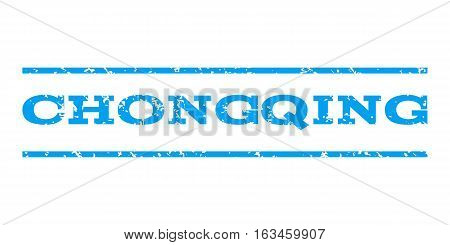 Chongqing watermark stamp. Text tag between horizontal parallel lines with grunge design style. Rubber seal stamp with dust texture. Vector blue color ink imprint on a white background.