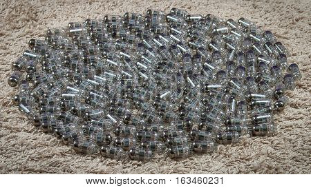 Dozens electron tubes made from thin glass
