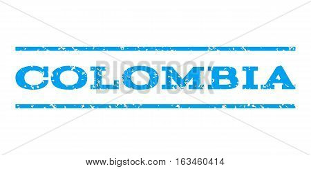 Colombia watermark stamp. Text caption between horizontal parallel lines with grunge design style. Rubber seal stamp with scratched texture. Vector blue color ink imprint on a white background.