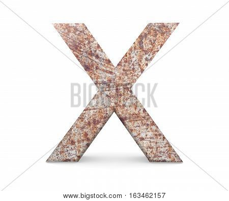 3D Decorative Letter From An Old Rusty Metal Alphabet, Capital Letter X