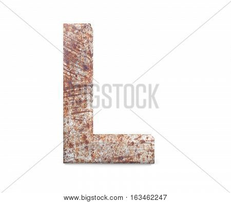 3D Decorative Letter From An Old Rusty Metal Alphabet, Capital Letter L