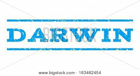 Darwin watermark stamp. Text caption between horizontal parallel lines with grunge design style. Rubber seal stamp with scratched texture. Vector blue color ink imprint on a white background.