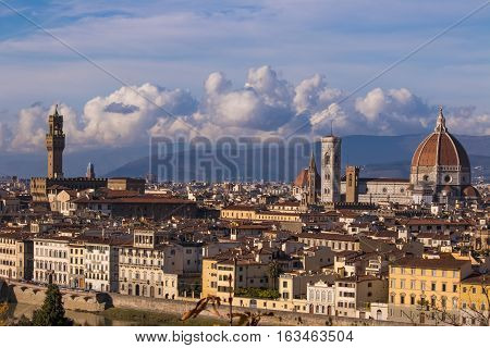 Italy. Florence. View of the historic part of town. Florence is the ancient capital city of the Italian region of Tuscany and of the Metropolitan City of Florence, on the banks of the River Arno.