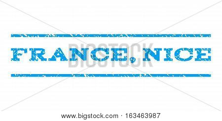 France, Nice watermark stamp. Text tag between horizontal parallel lines with grunge design style. Rubber seal stamp with dust texture. Vector blue color ink imprint on a white background.